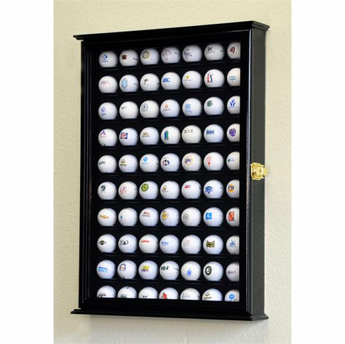 70 Golf Ball Display Case Cabinet Holder Wall Rack w/ UV Protection<br>4 WOOD COLORS!