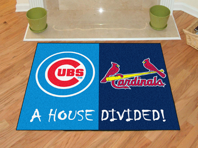 A House Divided MLB Mat - Cubs / Cardinals
