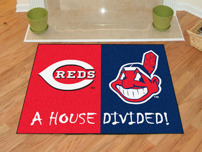 A House Divided MLB Mat - Reds / Indians