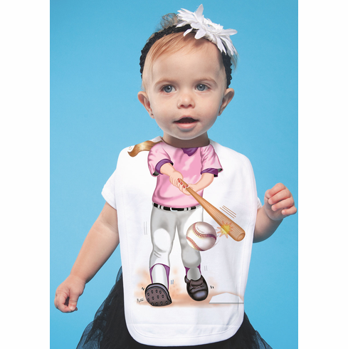 Add a Kid Baseball Girl Pink Batter Oversized Bib