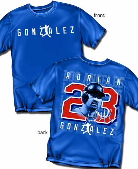 Adrian Gonzalez Silhouette Number T-Shirt<br>Short or Long Sleeve<br>Youth Med to Adult 4X
