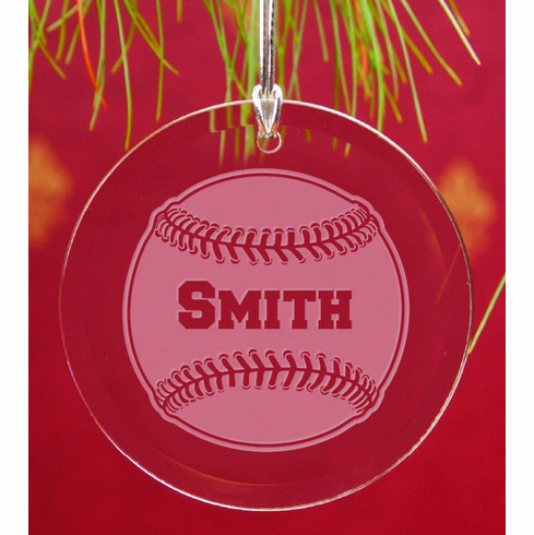 Personalized Round Crystal Baseball Ornament