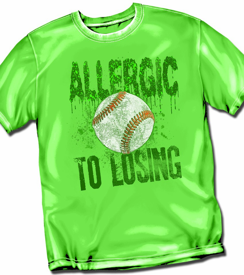 Allergic to Losing Bright Green Adult T-Shirt
