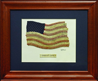 America's Game Baseball Stitches USA Flag Original Artwork