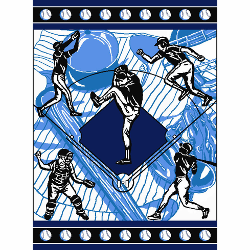 America's Game Baseball Tapestry Throw Blanket