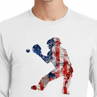 America's Pastime Baseball Catcher T-Shirt<br>Choose Your Color<br>Youth Med to Adult 4X