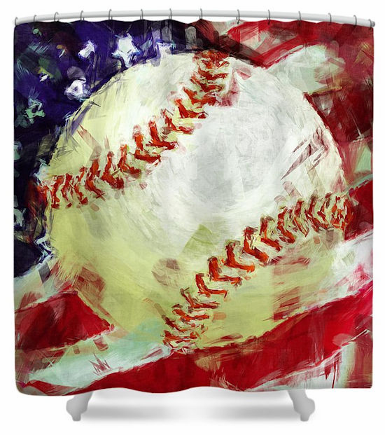 American Baseball Shower Curtain
