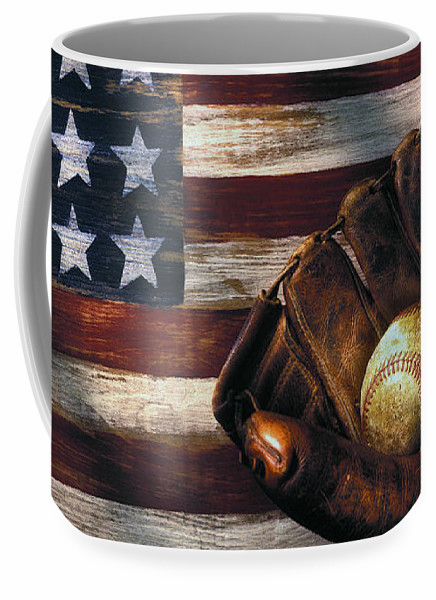 American Flag and Baseball Mitt 15oz Coffee Mug<br>ONLY 4 LEFT!