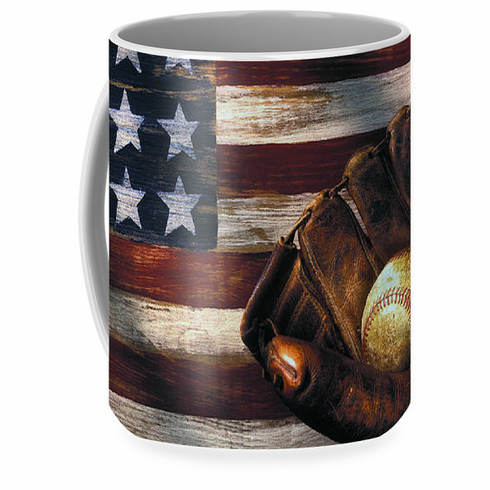 American Flag and Baseball Mitt 15oz Coffee Mug<br>ONLY 6 LEFT!