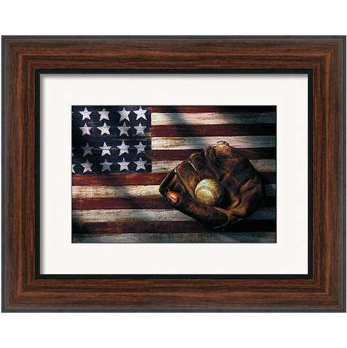 American Flag and Baseball Mitt Framed Print<br>7 SIZES AVAILABLE!