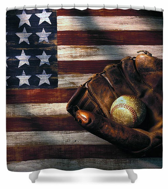 American Flag and Baseball Mitt Shower Curtain