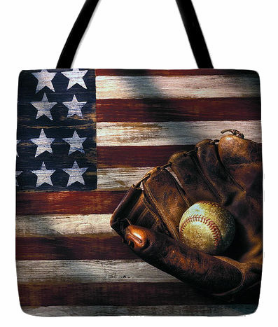 American Flag and Baseball Mitt Tote Bag<br>3 SIZES AVAILABLE!