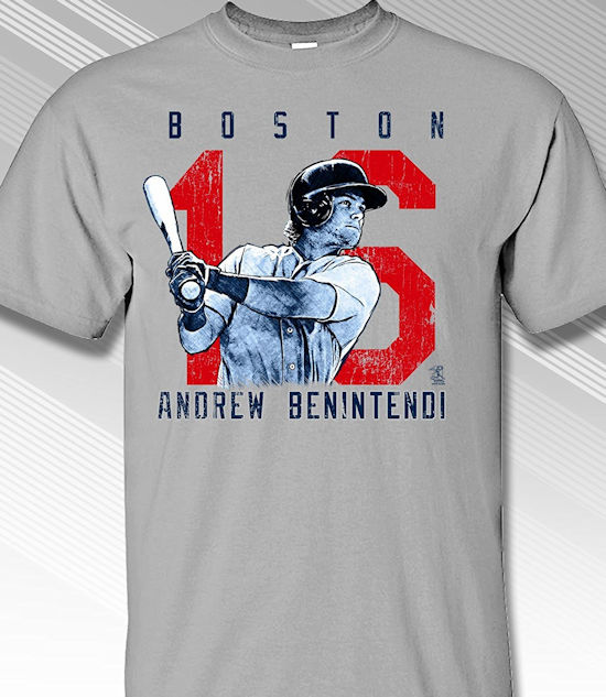 Andrew Benintendi Rough Cut Boston 16 T-Shirt<br>Short or Long Sleeve<br>Youth Med to Adult 4X