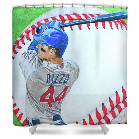 Anthony Rizzo Chicago Cubs Artistic Baseball Shower Curtain