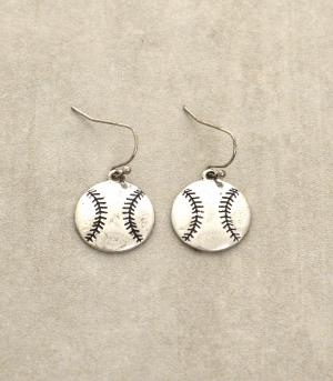 Antique Silver Baseball Dangling Earrings