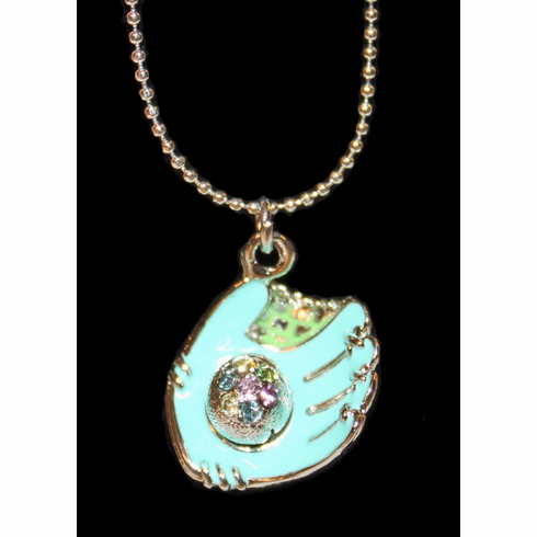 "WEEKLY SPECIAL #15<br>Aqua Blue Glove Crystal Baseball 17"" Necklace"