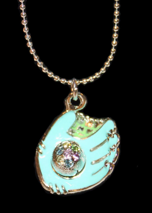 "Aqua Blue Glove Crystal Baseball 17"" Necklace"
