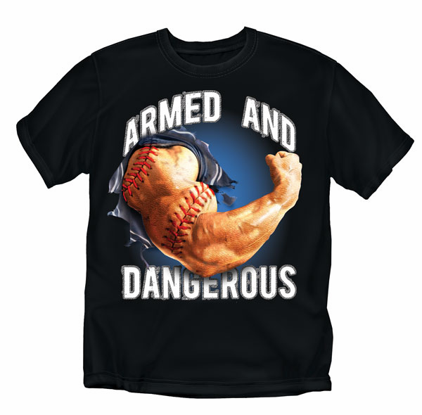Armed and Dangerous Black Baseball T-Shirt<br>Adult Med to 4X