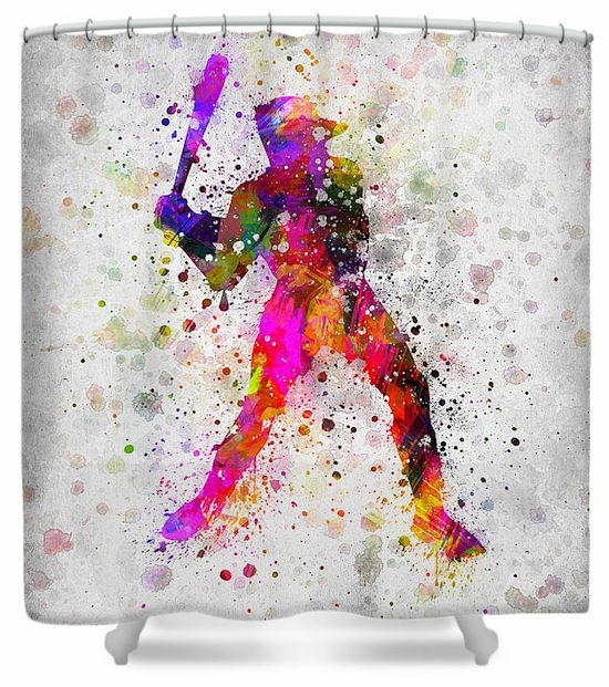 Artistic Baseball Shower Curtain<br>BATTER or PITCHER