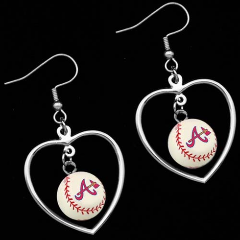 Atlanta Braves 3D Baseball Dangle Heart Earrings<br>ONLY 6 LEFT!