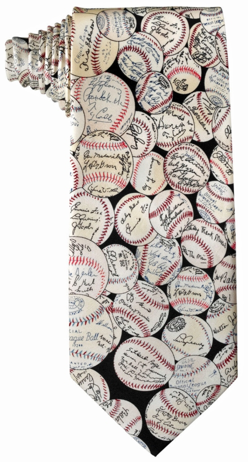 Authentic Baseballs<br>and Signatures<br>Men's Silk Tie