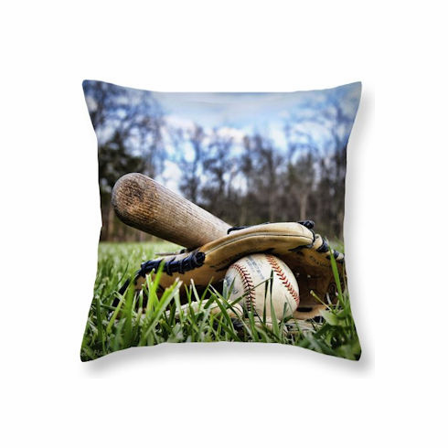 Backyard Baseball Memories Square Pillow<br>5 SIZES AVAILABLE!