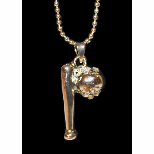 Ball and Bat Crystal Baseball Necklace<br>ONLY 5 LEFT!
