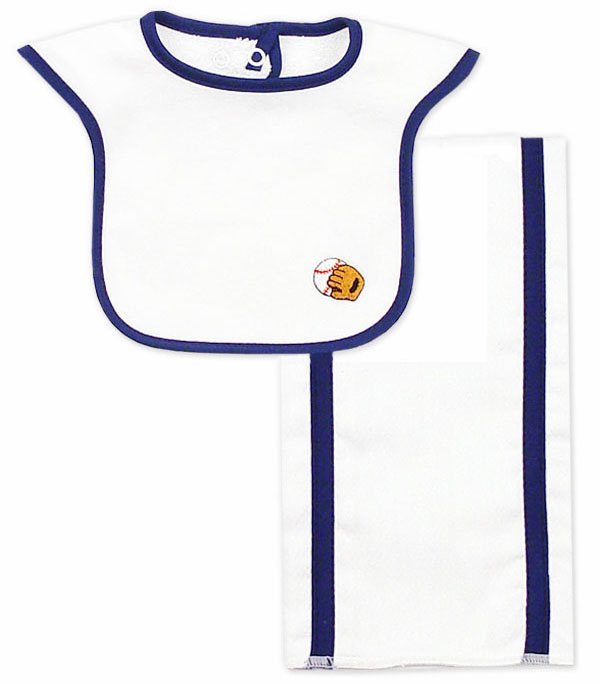 Ball and Glove Bib n Burp Set<br>ONLY 1 LEFT!