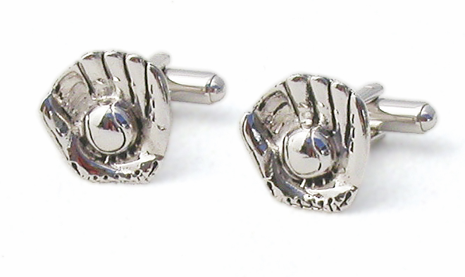 Ball in Glove Cufflinks<br>Silver or Gold
