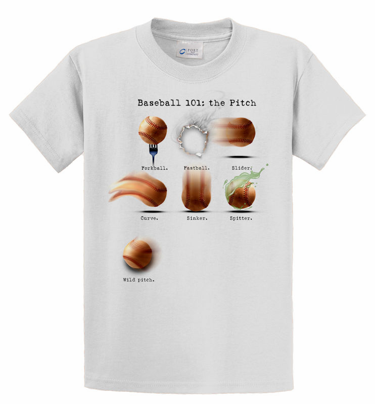 Baseball 101: The Pitch T-Shirt<br>Choose Your Color<br>Youth Med to Adult 4X