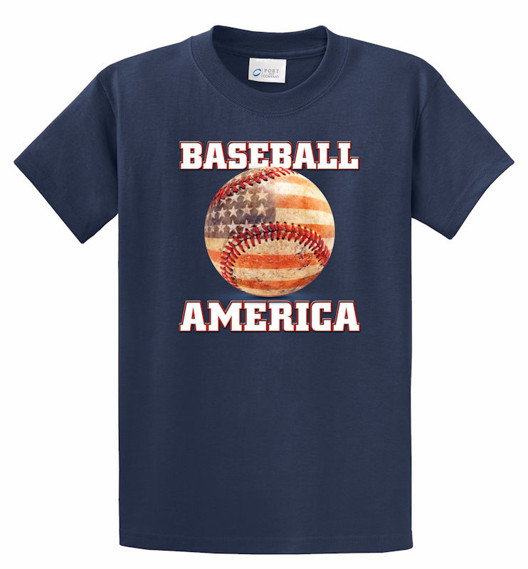 Baseball America T-Shirt<br>Choose Your Color<br>Youth Med to Adult 4X