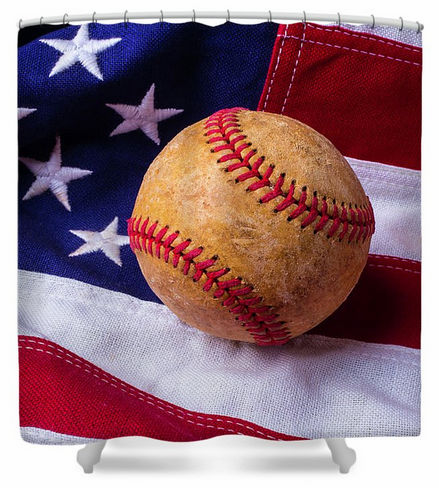 Baseball and American Flag Shower Curtain