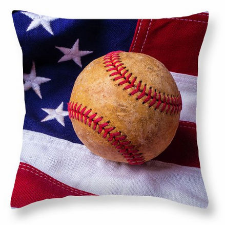 Baseball and American Flag Square Pillow<br>5 SIZES AVAILABLE!