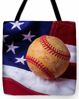 Baseball and American Flag Tote Bag<br>3 SIZES AVAILABLE!
