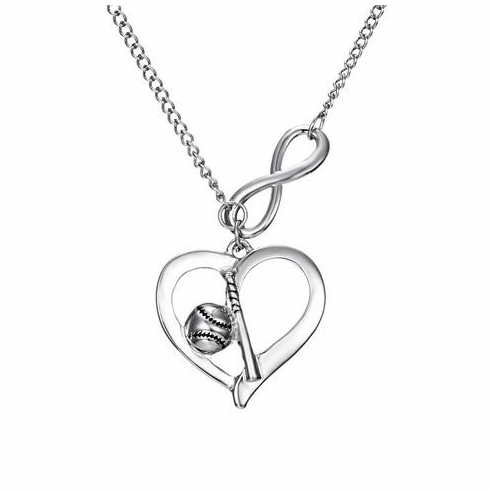 Baseball and Bat Heart Necklace<br>ONLY 3 LEFT!