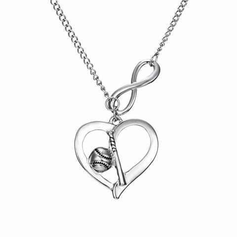 Baseball and Bat Heart Necklace<br>ONLY 1 LEFT!
