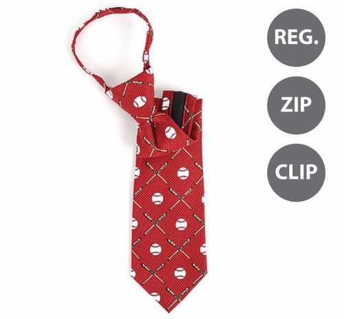 WEEKLY SPECIAL #7<br>Baseball and Bats Burgundy Boy's Youth Polyester Ties<br>REG, ZIP, or CLIP!