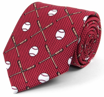 WEEKLY SPECIAL #4<br>Baseball and Bats Red Polyester Tie