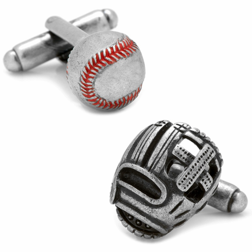 Baseball and Fielders Glove 3D Antique Silver Cufflinks