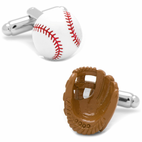 Baseball and Fielders Glove 3D Enamel Cufflinks