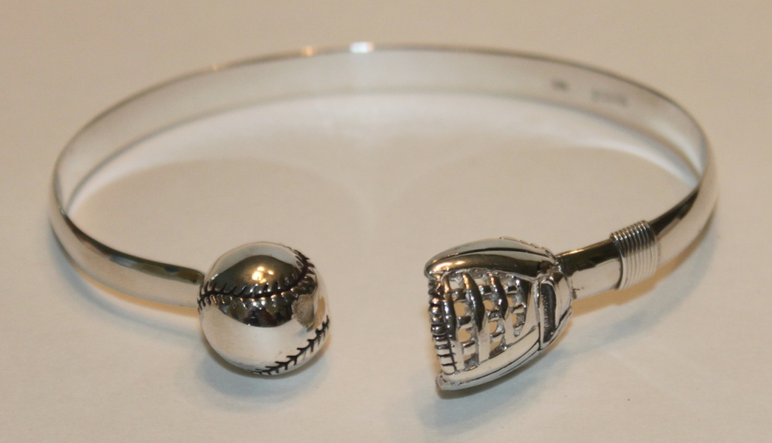 "Baseball and Mitt Sterling Silver 7"" Cuff Bracelet<br>ONLY 1 LEFT!"