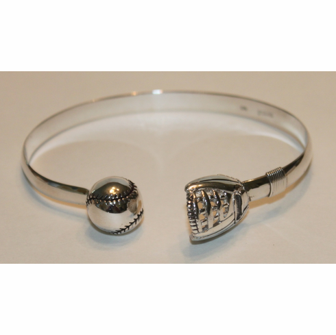 Baseball and Mitt Sterling Silver Cuff Bracelet