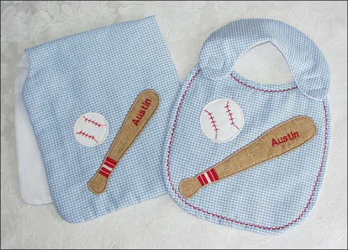 Baseball Applique Bib n Burp Sets<br>Pink or Blue<br>Blank or Personalized