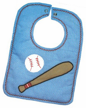 Baseball Applique Bibs<br>Pink or Blue<br>Blank or Personalized