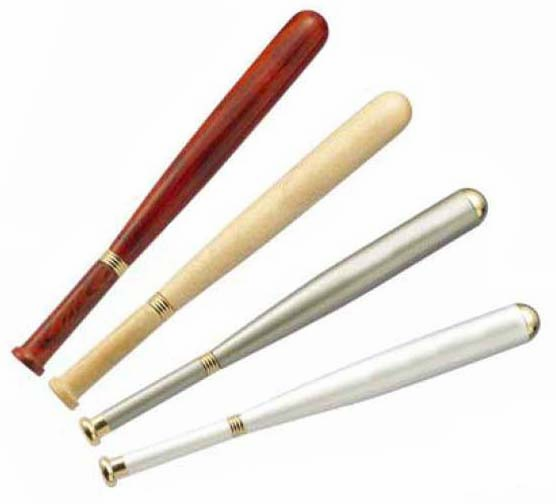Baseball Bat Shaped Ballpoint Pens<br>4 COLORS IN STOCK!