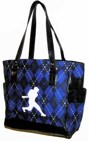 Baseball Batter Argyle Tote Bag<br>ONLY 4 LEFT!