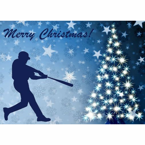 Baseball Batter Christmas Cards<br>PRE-ORDER NOW FOR EARLY NOVEMBER DELIVERY!
