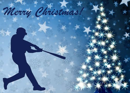 Personalized Baseball Batter Christmas Cards<br>5 PACK MINIMUM!