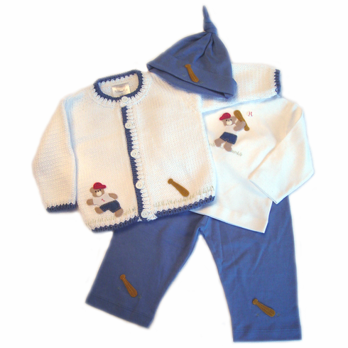 Baseball Bear 6-12mo Baby Outfit<br>ONLY 1 LEFT!