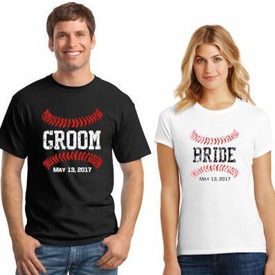 Baseball Bride and Groom Personalized T-Shirts<br>Choose Your Date<br>Tank, V-Neck, or Crew<br>Sizes S-4X